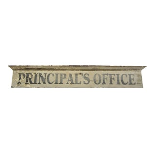 Vintage Wooden Principal's Office Sign