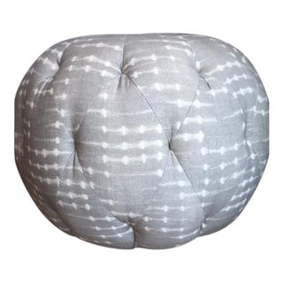 Gray and White Round Pouf