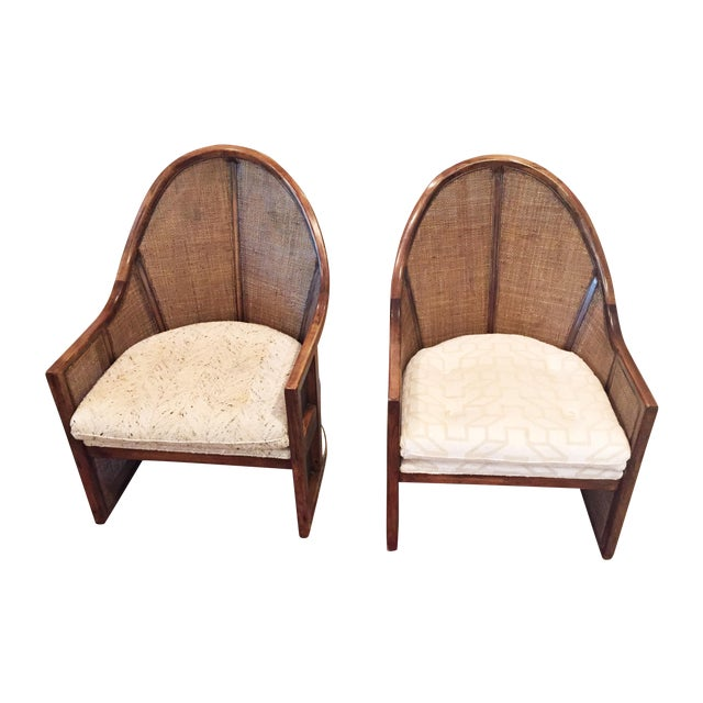 Image of Vintage High-Back Cane Chairs - A Pair