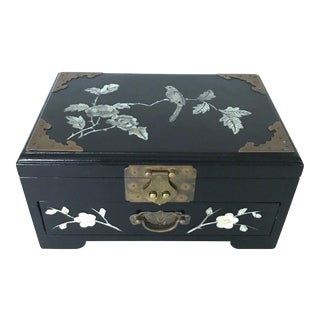 Black Lacquer and Mother of Pearl Jewellery Box