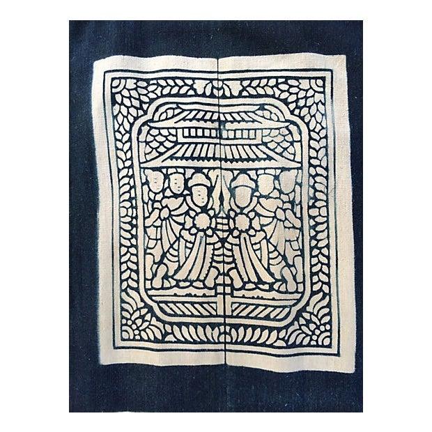 Hand-Blocked Chinese Indigo Story Panel Textile - Image 2 of 5