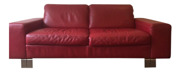 natuzzi italian red leather loveseat