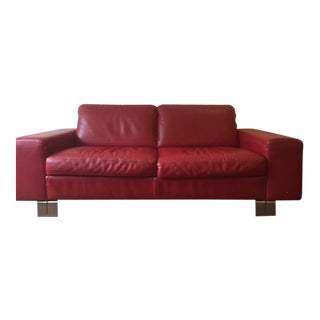 Natuzzi Italia Red Leather Loveseat