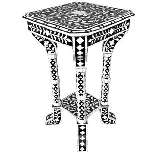 Floral Pattern Bone Inlay Accent Table