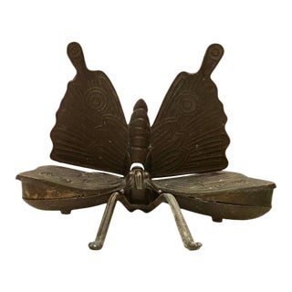 Art Nouveu Brass Figural Butterfly Hinged Box
