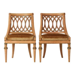 Italian Carved Wood Slipper Chairs - A Pair
