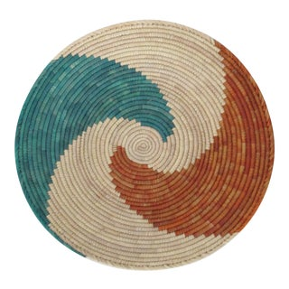 Native American Style Rust & Turquoise Swirl Basket
