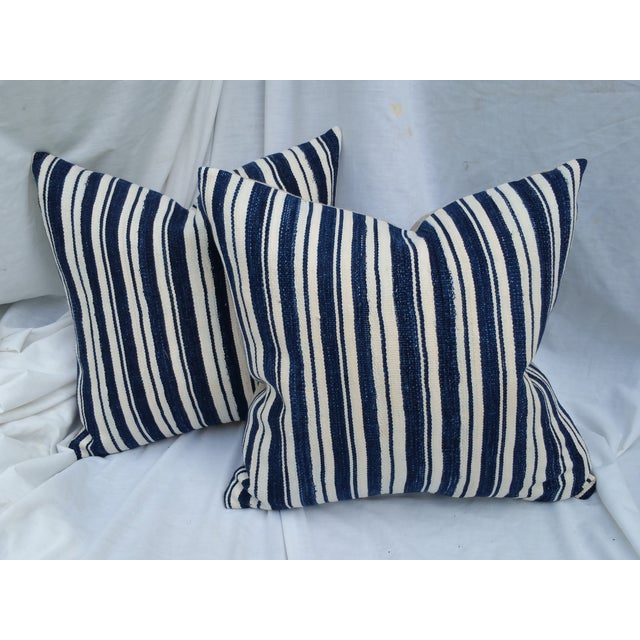 Mali Indigo Strip Pillows - Pair - Image 2 of 5