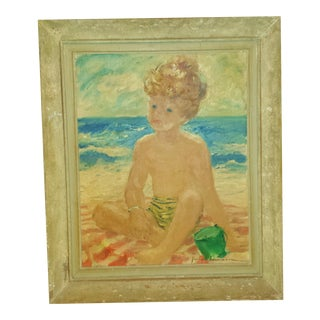 "Oil Painting by Jay Hyde Barnum ""Boy on Beach"" 1947"