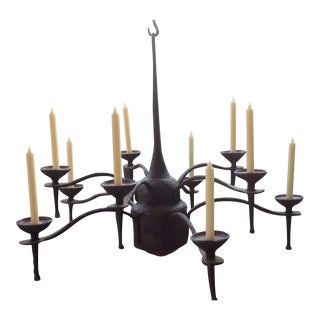 Vintage Hand Forged Steel Candle Chandelier