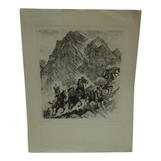 """Original """"Up the Trail"""" Signed Etching"""