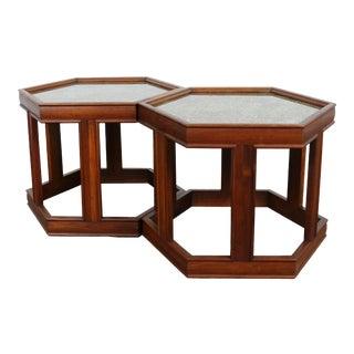 Brown Saltman Hexagonal End Tables - A Pair