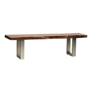 Organic Wood Bench with Steel Base