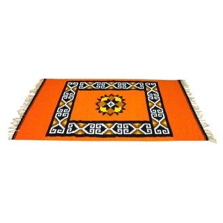 "Native American Style Orange Rug - 3' 10"" x 6' 8"""