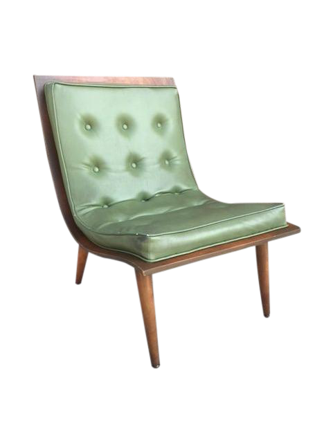 Mid Century Green Vinyl Scoop Chair Chairish