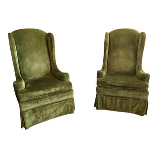 Mid-Century Ethan Allen High Back Fireside Chairs - A Pair