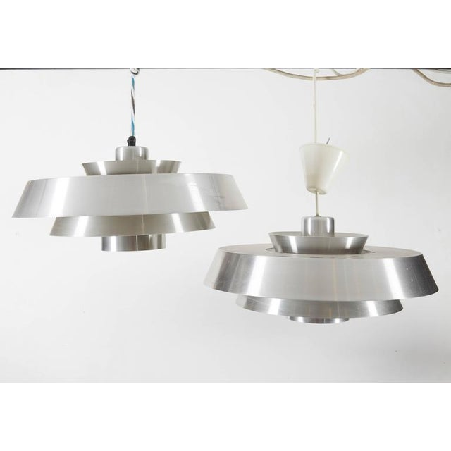 Danish Aluminum Pendent Lamp by Jo Hammerborg, Pair - Image 3 of 8