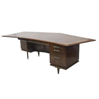 Fine American Modern Dark Walnut Executive Desk, Custom Made by Monteverdi Young