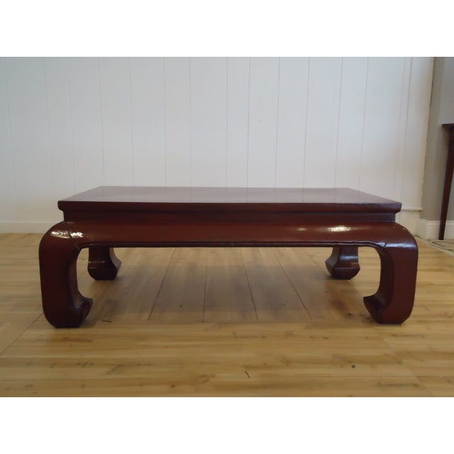 Chinese Dark Red Laquer Wood Coffee Table - Image 2 of 7