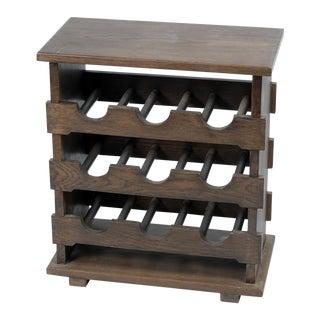Vintage Wooden Wine Rack Side Table From Belgium
