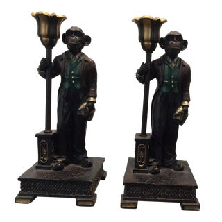 Monkey Candle Holder - A Pair