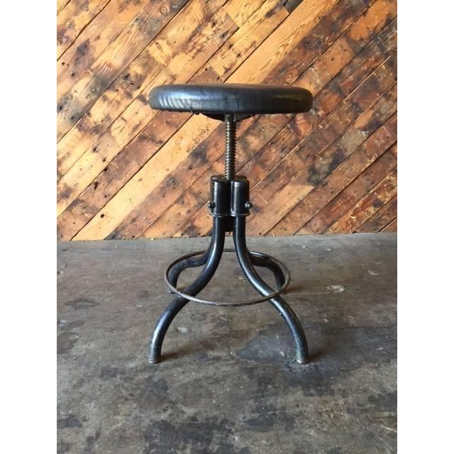 Vintage Industrial Black Vinyl Stool - Image 2 of 4