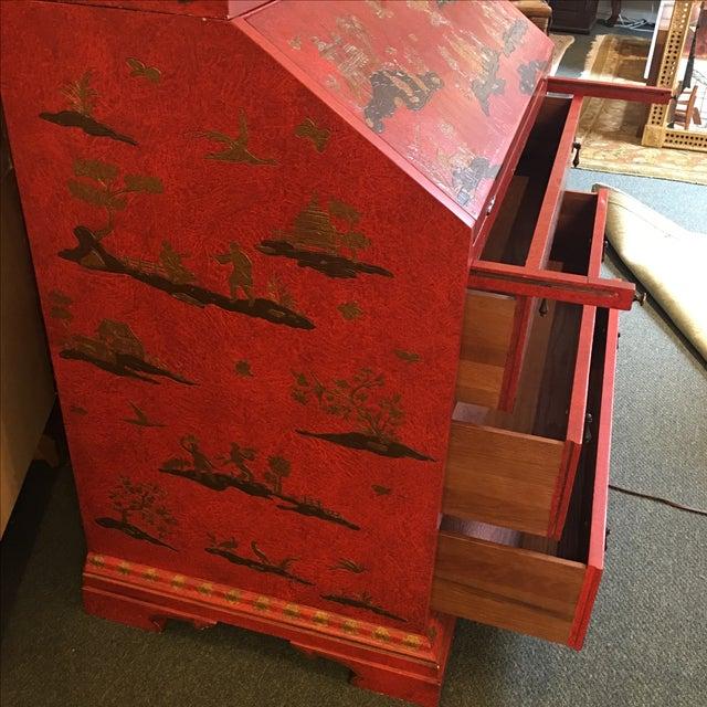 Baker Red Chinoiserie Desk - Image 9 of 11