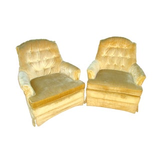 Vintage Broyhill Tufted Armchairs - Pair