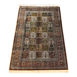 Handwoven Silk Persian Rug - 3′3″ × 4′11″
