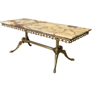 Antique Onyx Top Brass Base Coffee Table