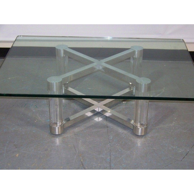 Image of Lucite & Chrome Coffee Table