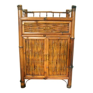 Oriental Bamboo Vintage Cane Cabinet