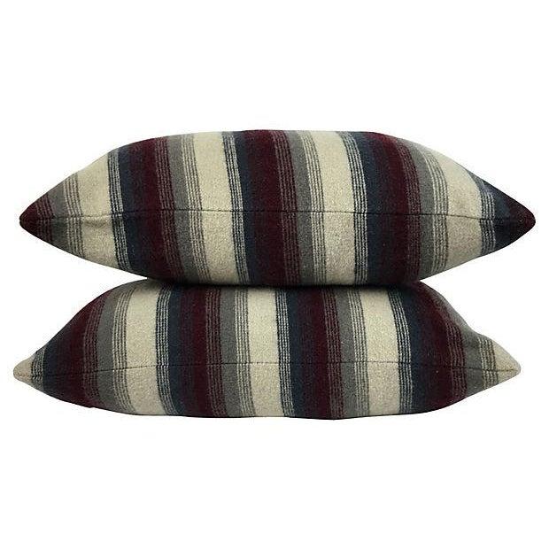 Repurposed Wool Blanket Lumbar Pillows - A Pair - Image 3 of 6
