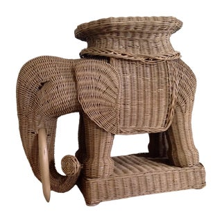 Wicker Elephant Garden Stool