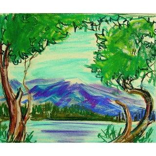 Lakeside Mountain Study Pastel Drawing
