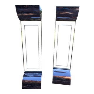 Lucite & Chrome Column Lights - A Pair