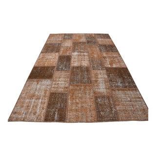 Brown Turkish Handmade Patchwork Rug - 6′6″ × 10′