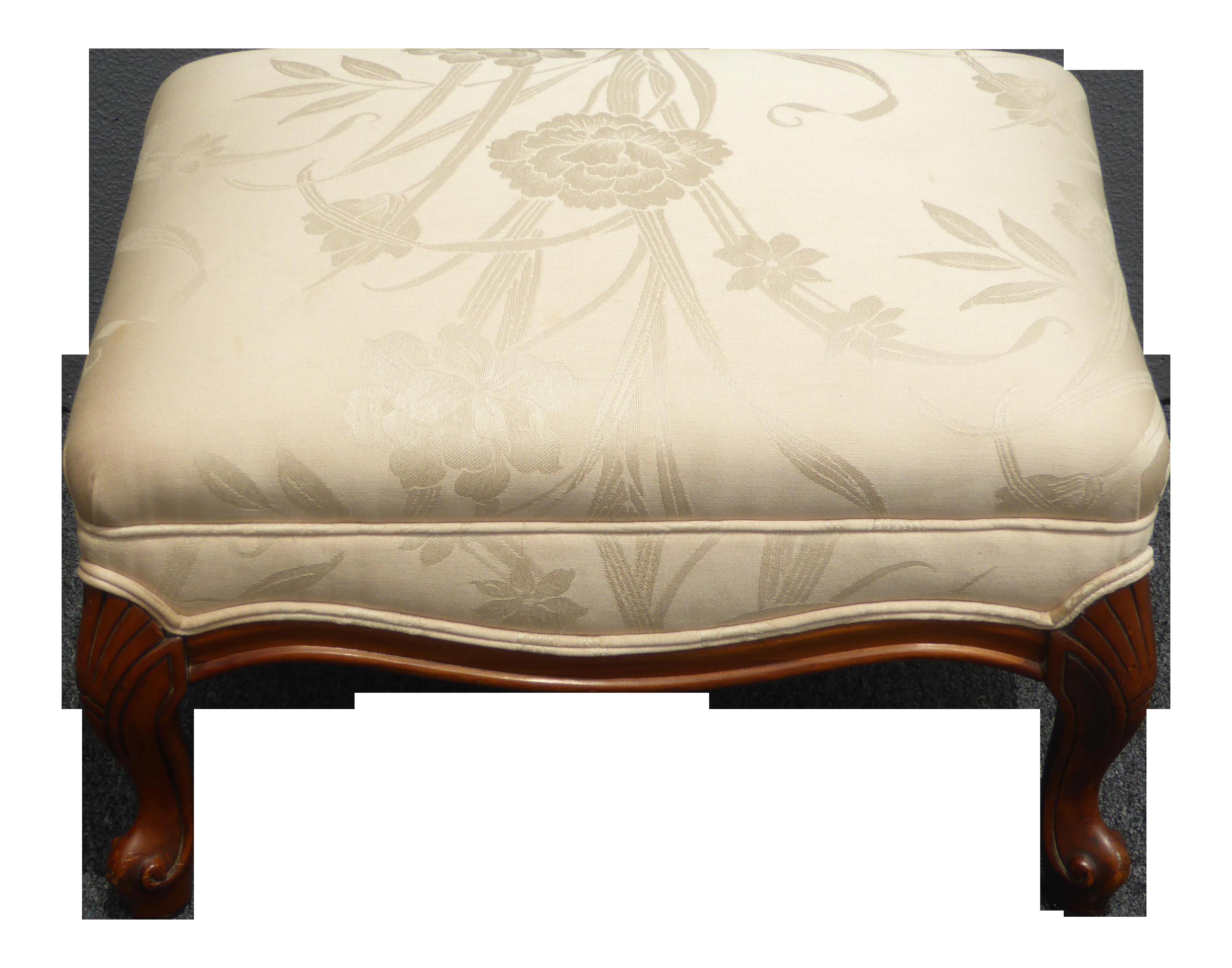 Vintage French Provincial Style Carved Beige Floral Design