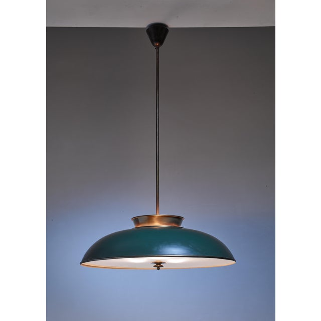 Large Swedish brass pendant lamp by Harald Notini, 1930s - Image 2 of 6