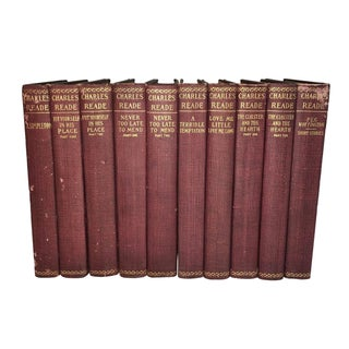 Antique Red Books by Charles Reade - Set of 10