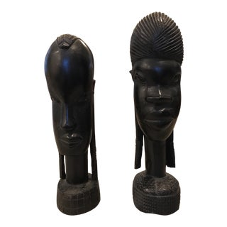 African Ebony Wood Busts - A Pair