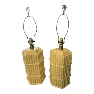 Yellow Faux Bamboo Table Lamps - A Pair