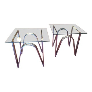 Vintage 1970s Chrome & Glass End Tables - A Pair