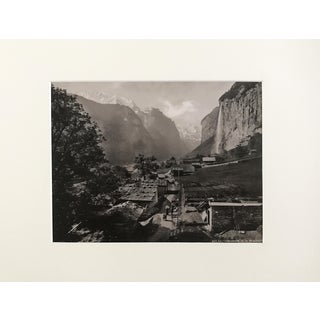 19th C Lauterbrunnen Swiss Alps Sepia Tone Photograph