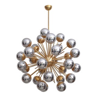 1 of 2 Exceptional Huge Sputnik Murano Glass and Brass Chandelier