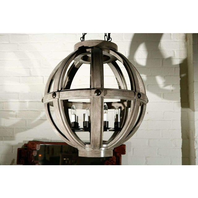 Customizable Paul Marra Large Carved Sphere Chandelier - Image 3 of 8