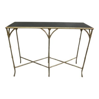 Two French Gilt Iron Faux Bamboo Consoles in the Style of Baguès