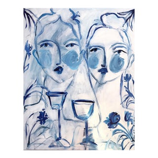 Flowers and Wine Two by Two Acrylic Painting