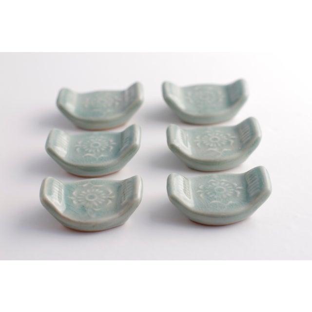Vintage Asian Ceramic Celadon Chopstick Rests in Box - Set of 6 - Image 10 of 10