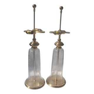 Crackled Glass & Brass Chapman Lamps